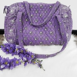 VERA BRADLEY XL Purple Duffel Travel Weekend Bag